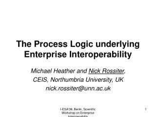 The Process Logic underlying Enterprise Interoperability