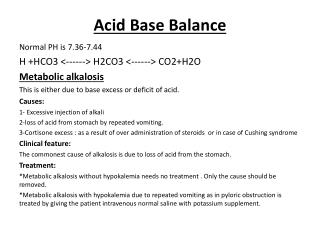 Acid Base Balance