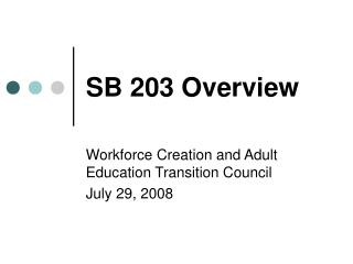 SB 203 Overview