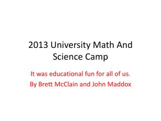 2013 University Math And Science Camp