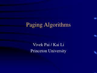 Paging Algorithms