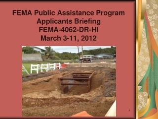FEMA Public Assistance Program Applicants Briefing FEMA-4062-DR-HI March 3-11, 2012