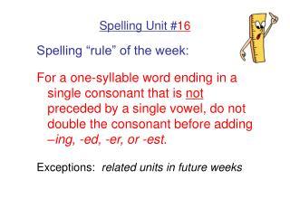 Spelling Unit # 16