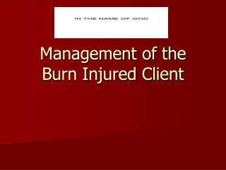 Management of the  Burn Injured Client