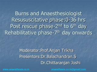 Moderator:Prof.Anjan Trikha   Presentors:Dr.Balachandran.S