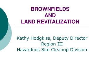 BROWNFIELDS  AND  LAND REVITALIZATION