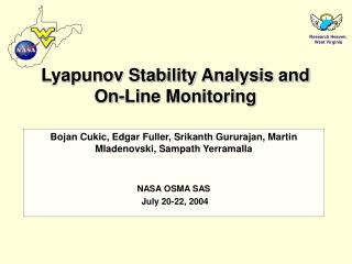Lyapunov Stability Analysis and On-Line Monitoring