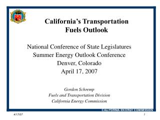 California's Transportation Fuels Outlook
