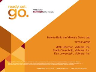 How to Build the VMware Demo Lab TECHIV0030