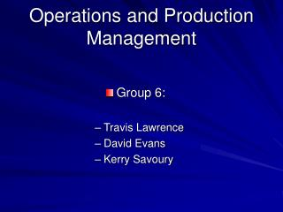 Operations and Production Management