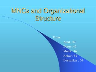 MNCs and Organizational Structure