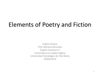 Elements of Poetry and Fiction