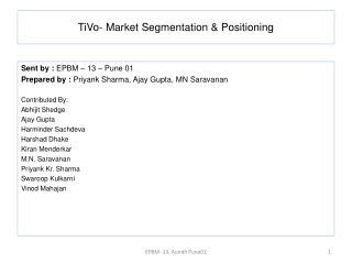 TiVo- Market Segmentation & Positioning