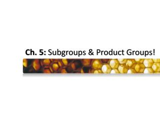 Ch. 5:  Subgroups & Product Groups!