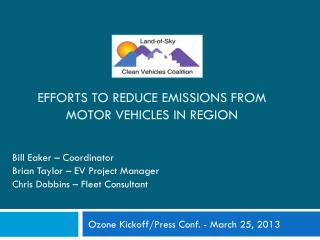 Efforts to Reduce Emissions from Motor Vehicles in Region