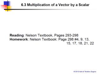 63 Multiplication of a Vector by a Scalar