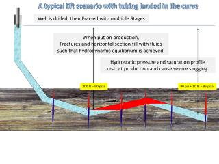 Hydrostatic pressure and saturation profile restrict production and cause severe slugging.