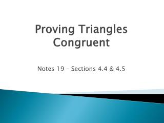Proving Triangles Congruent