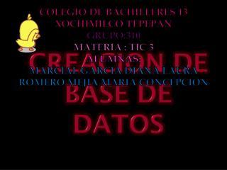 CREACION DE BASE DE DATOS