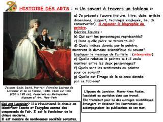 HISTOIRE DES ARTS : « Un savant à travers un tableau »