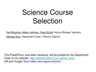 Science Course Selection