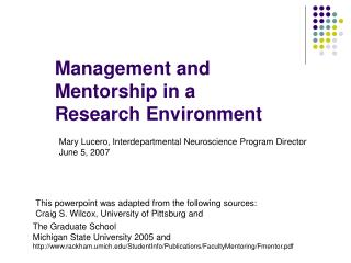 Management and Mentorship in a  Research Environment