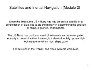 Satellites and Inertial Navigation (Module 2)