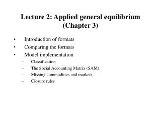 Lecture 2: Applied general equilibrium (Chapter 3)