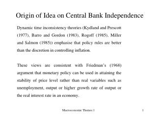 Origin of Idea on Central Bank Independence