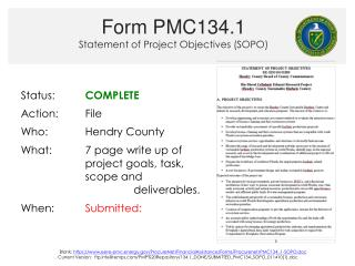 Form PMC134.1 Statement of Project Objectives (SOPO)