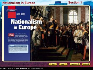 Preview Starting Points Map: Europe,1815 Main Idea / Reading Focus Stirrings of Nationalism