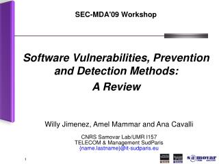 SEC-MDA'09 Workshop