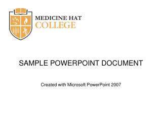 SAMPLE POWERPOINT DOCUMENT
