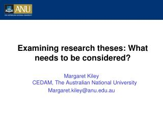 Examining research theses: What needs to be considered