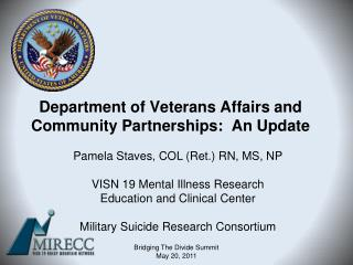 Department of Veterans Affairs and Community Partnerships:  An Update