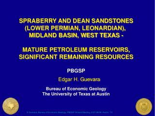 SPRABERRY AND DEAN SANDSTONES (LOWER PERMIAN, LEONARDIAN),  MIDLAND BASIN, WEST TEXAS -