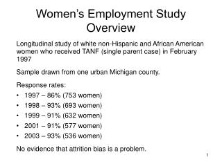 Women's Employment Study  Overview