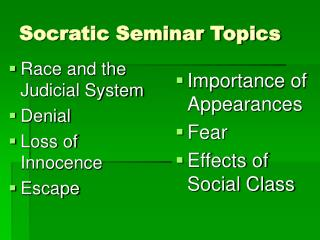 Socratic Seminar Topics