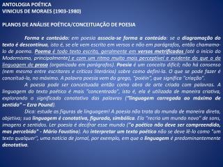 ANTOLOGIA POÉTICA  VINICIUS DE MORAES (1903-1980)