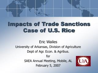Impacts of Trade Sanctions Case of U.S. Rice