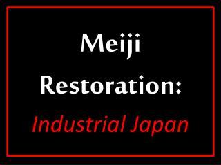 Meiji Restoration:  Industrial Japan