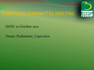 PORTFOLIO COMMITTEE MEETING