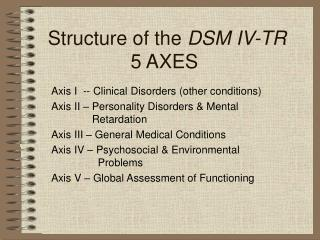 Structure of the  DSM IV-TR 5 AXES