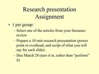 Research presentation Assignment