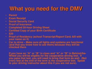 What you need for the DMV