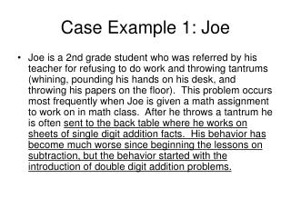 Case Example 1: Joe