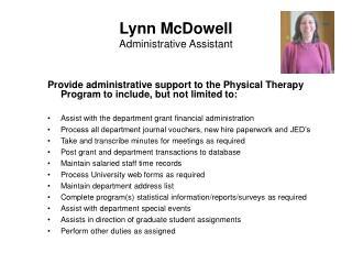 Lynn McDowell Administrative Assistant