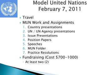 Model United Nations February 7, 2011