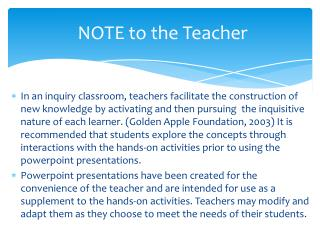 NOTE to the Teacher