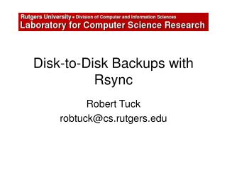 Disk-to-Disk Backups with Rsync